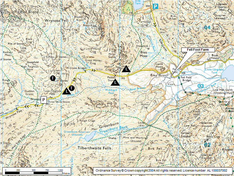 Wrynose Pass Map